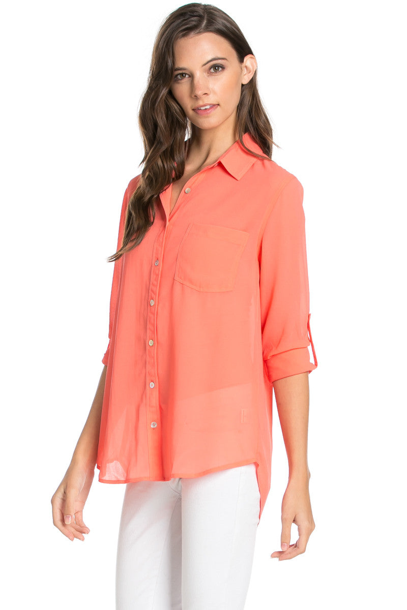 Roll Up Sleeve Button Down Coral Chiffon Blouse - Blouses - My Yuccie - 3