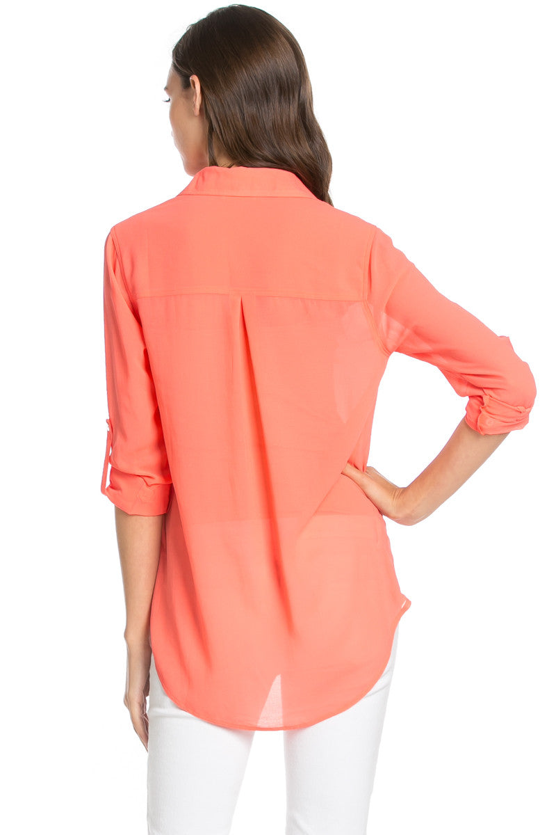 Roll Up Sleeve Button Down Coral Chiffon Blouse - Blouses - My Yuccie - 4