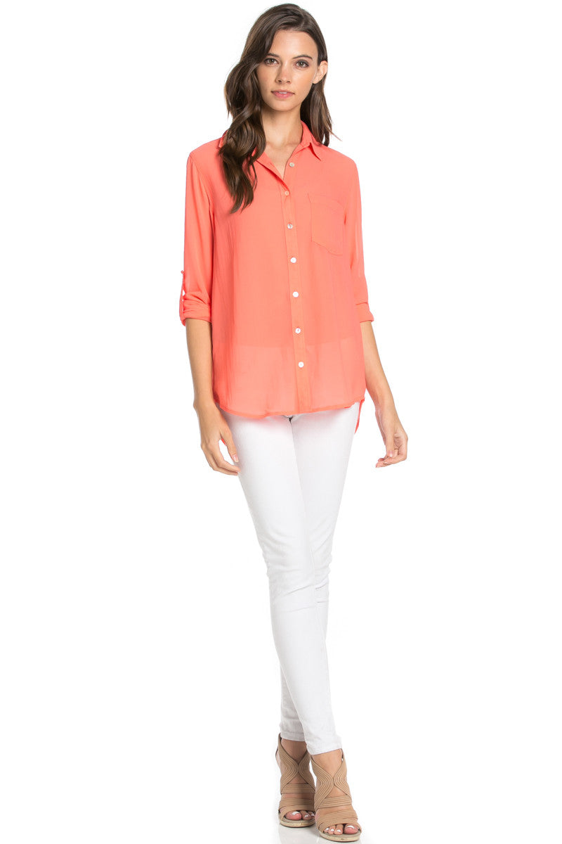 Roll Up Sleeve Button Down Coral Chiffon Blouse - Blouses - My Yuccie - 2