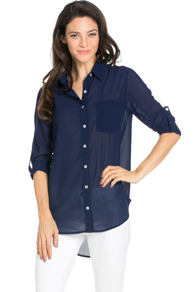 Roll Up Sleeve Button Down Dark Navy Chiffon Blouse - Blouses - My Yuccie - 1
