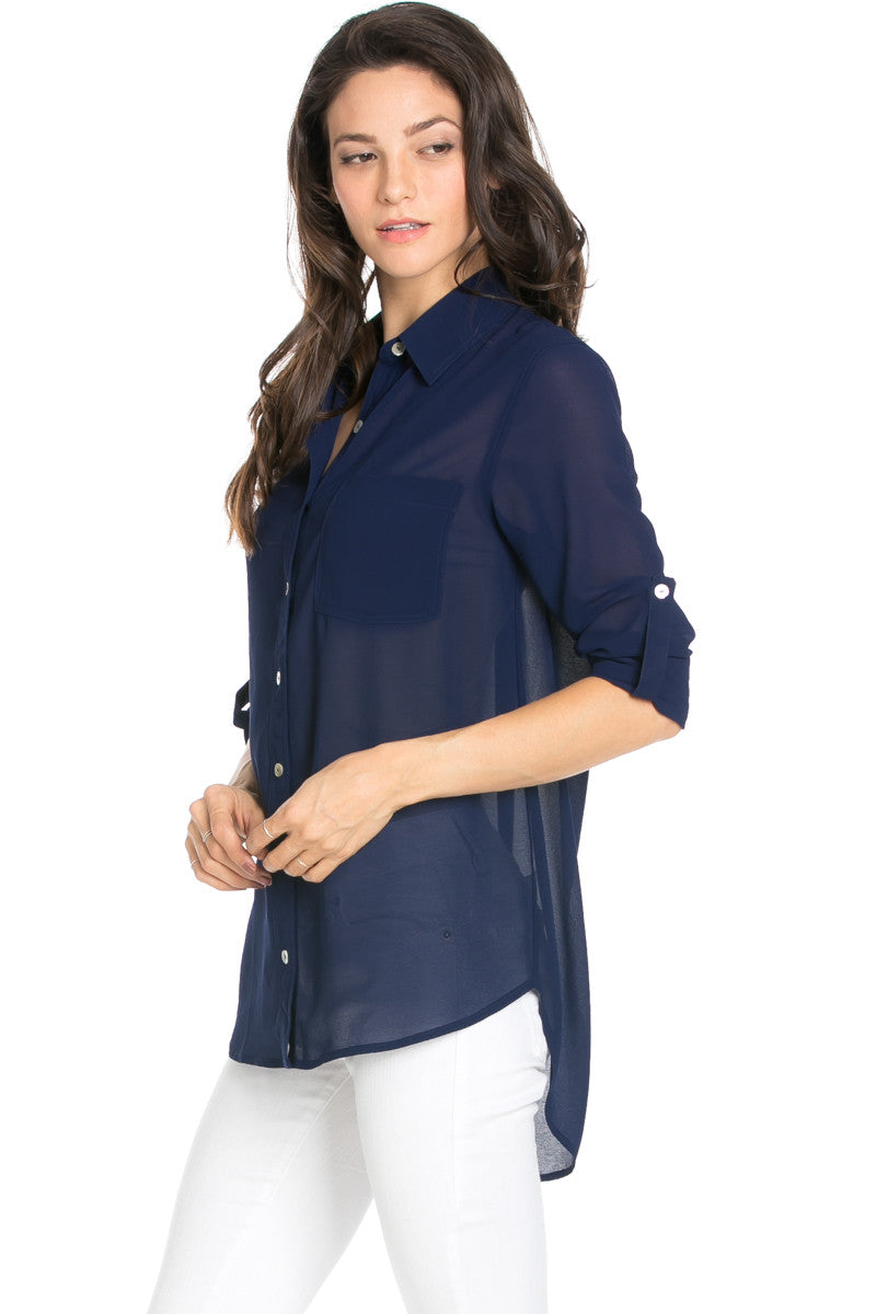 Roll Up Sleeve Button Down Dark Navy Chiffon Blouse - Blouses - My Yuccie - 3