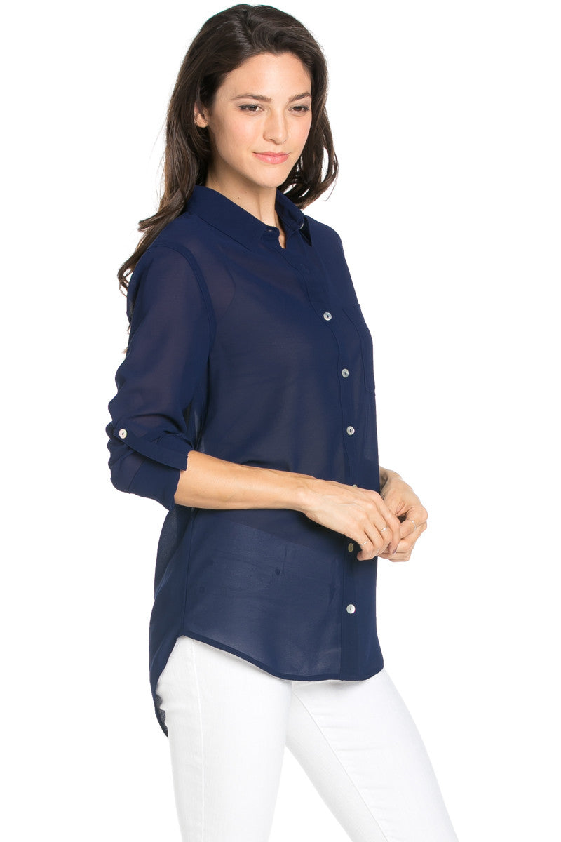Roll Up Sleeve Button Down Dark Navy Chiffon Blouse - Blouses - My Yuccie - 4