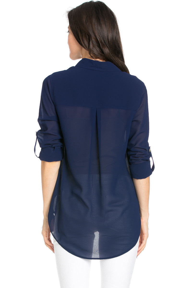 Roll Up Sleeve Button Down Dark Navy Chiffon Blouse - Blouses - My Yuccie - 5