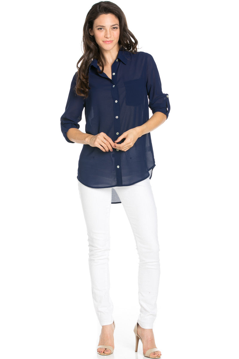 Roll Up Sleeve Button Down Dark Navy Chiffon Blouse - Blouses - My Yuccie - 2