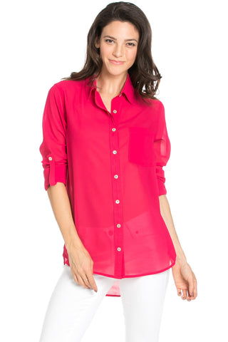 Roll Up Sleeve Button Down Fuchsia Chiffon Blouse - Blouses - My Yuccie - 1