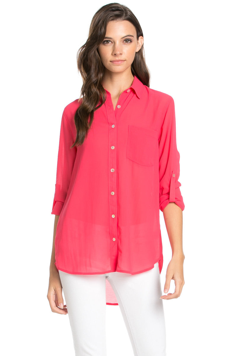 Roll Up Sleeve Button Down Hot Pink Chiffon Blouse - Blouses - My Yuccie - 3