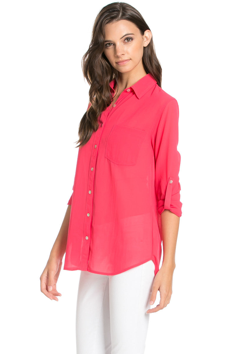 Roll Up Sleeve Button Down Hot Pink Chiffon Blouse - Blouses - My Yuccie - 1