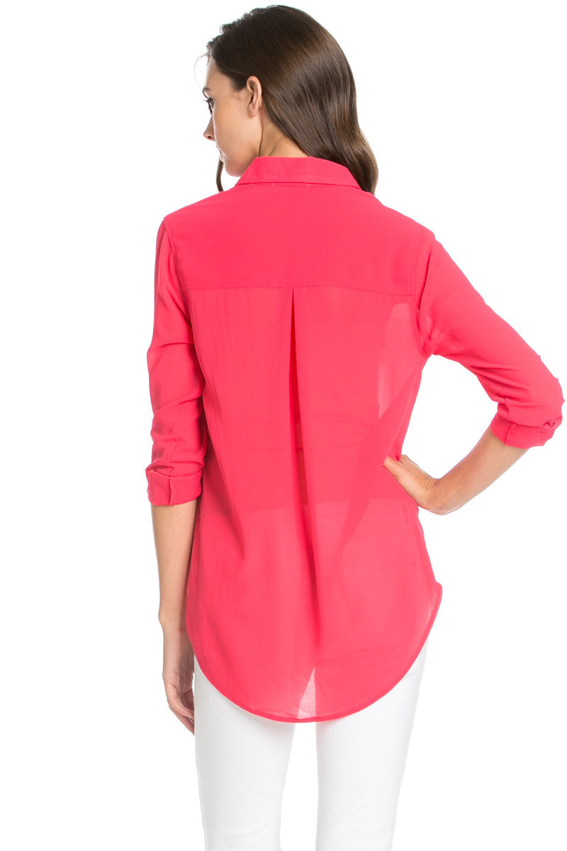 Roll Up Sleeve Button Down Hot Pink Chiffon Blouse - Blouses - My Yuccie - 4