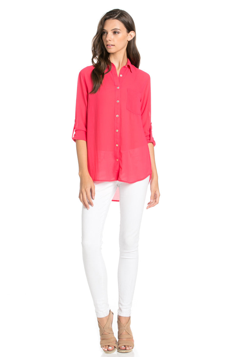 Roll Up Sleeve Button Down Hot Pink Chiffon Blouse - Blouses - My Yuccie - 2