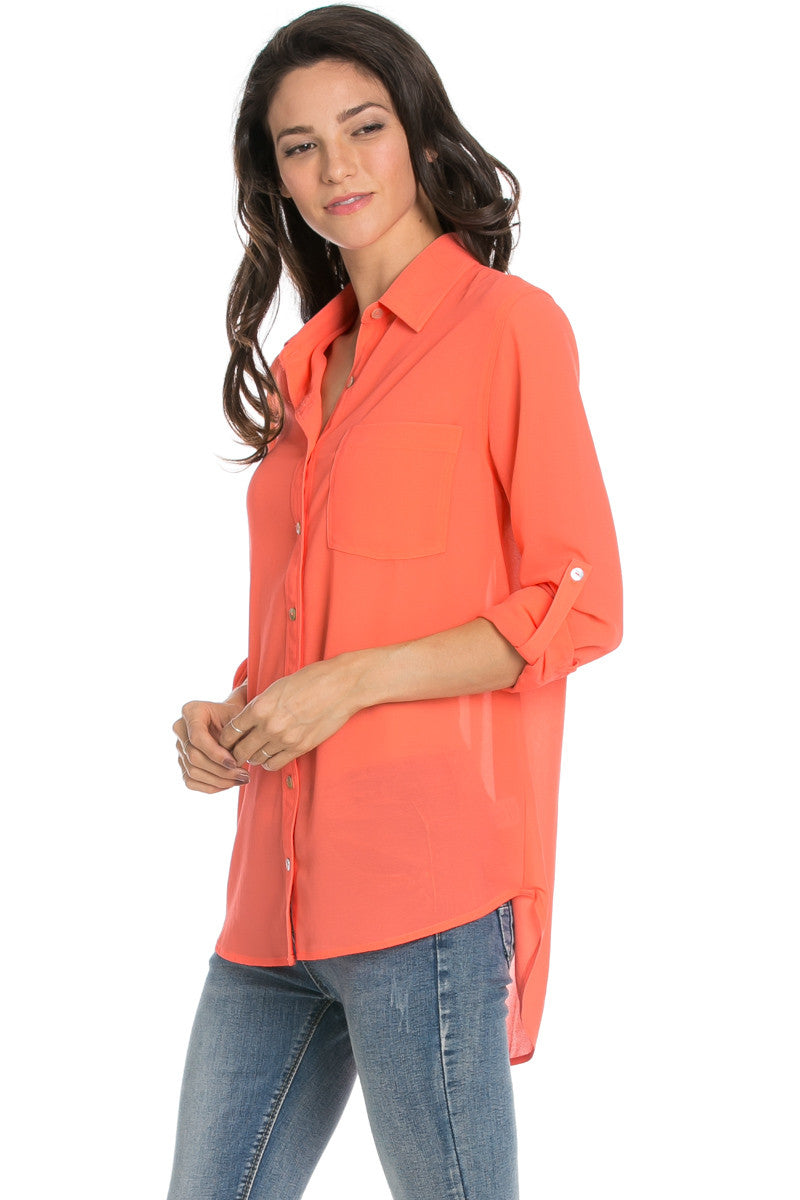 Roll Up Sleeve Button Down Neon Coral Chiffon Blouse - Blouses - My Yuccie - 1
