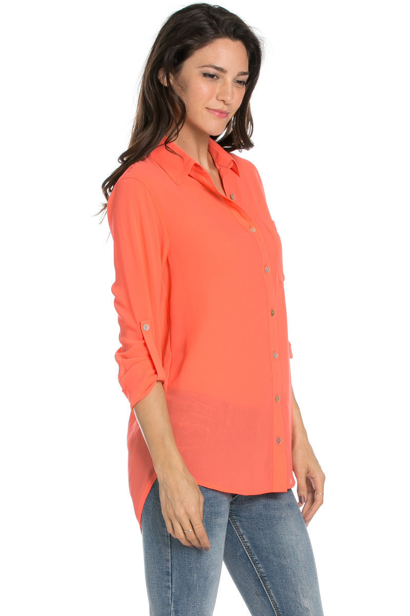 Roll Up Sleeve Button Down Neon Coral Chiffon Blouse - Blouses - My Yuccie - 4
