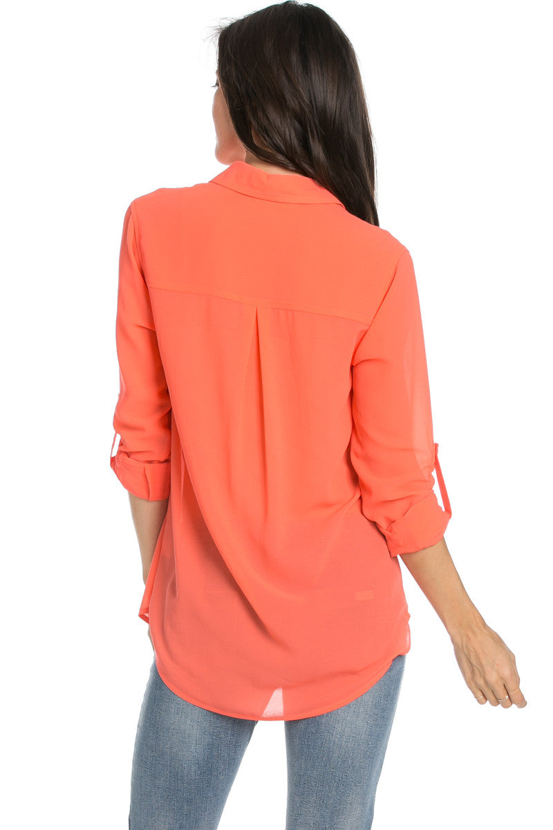 Roll Up Sleeve Button Down Neon Coral Chiffon Blouse - Blouses - My Yuccie - 5