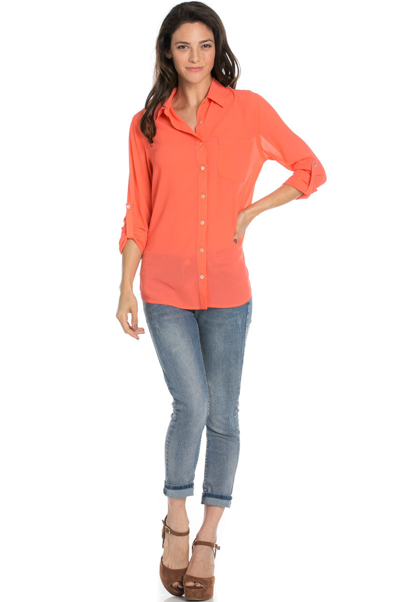 Roll Up Sleeve Button Down Neon Coral Chiffon Blouse - Blouses - My Yuccie - 2