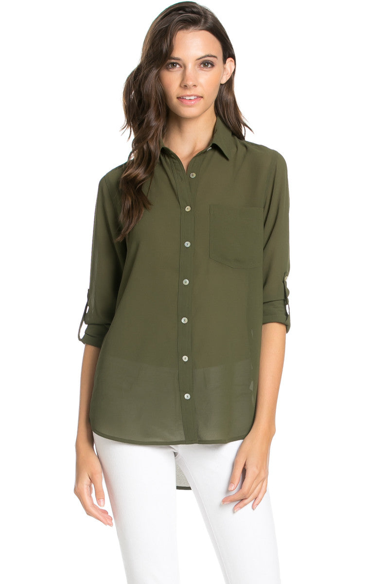 Roll Up Sleeve Button Down Olive Chiffon Blouse - Blouses - My Yuccie - 3