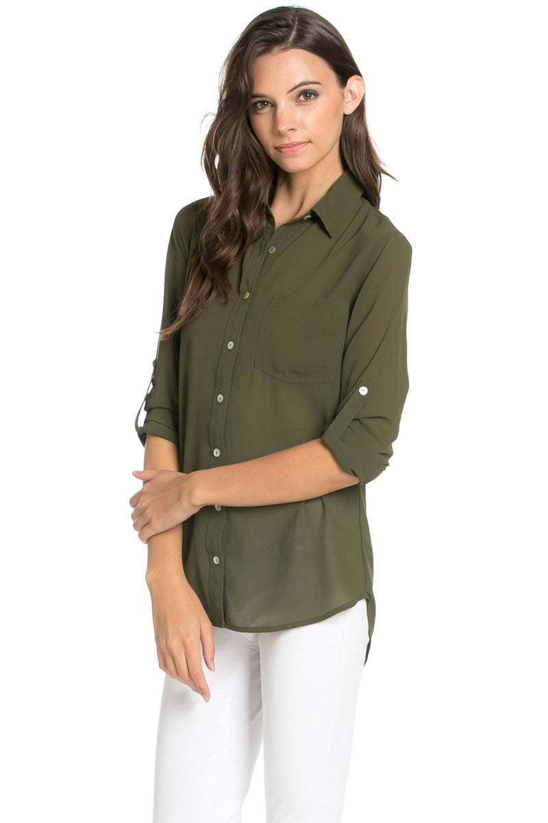 Roll Up Sleeve Button Down Olive Chiffon Blouse - Blouses - My Yuccie - 1