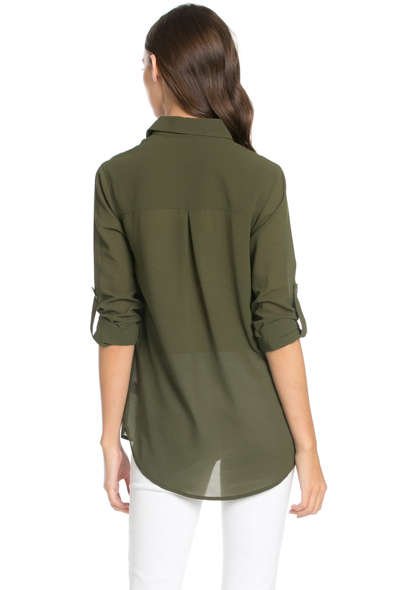 Roll Up Sleeve Button Down Olive Chiffon Blouse - Blouses - My Yuccie - 4