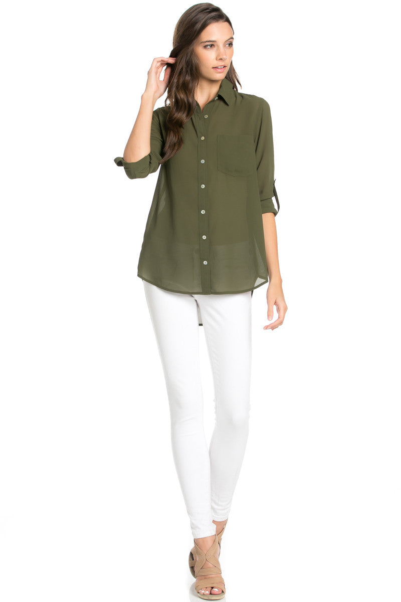 Roll Up Sleeve Button Down Olive Chiffon Blouse - Blouses - My Yuccie - 2