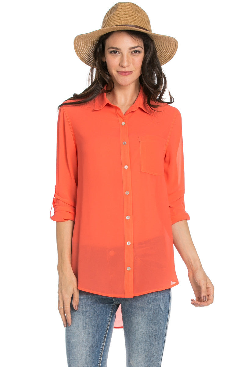 Roll Up Sleeve Button Down Orange Chiffon Blouse - Blouses - My Yuccie - 1
