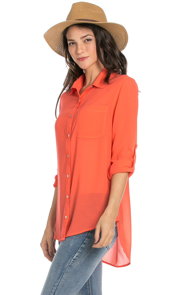 Roll Up Sleeve Button Down Orange Chiffon Blouse - Blouses - My Yuccie - 3