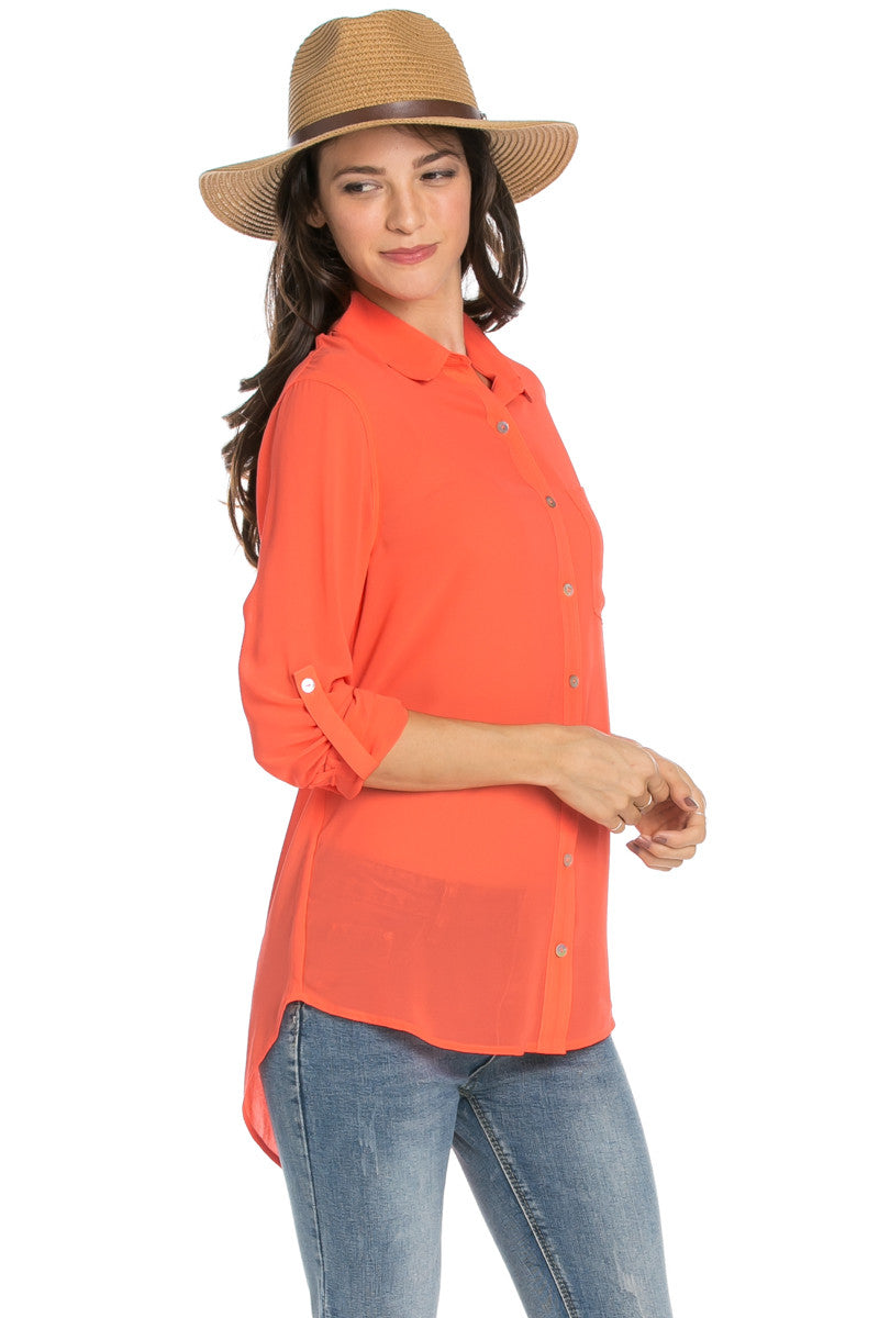 Roll Up Sleeve Button Down Orange Chiffon Blouse - Blouses - My Yuccie - 4