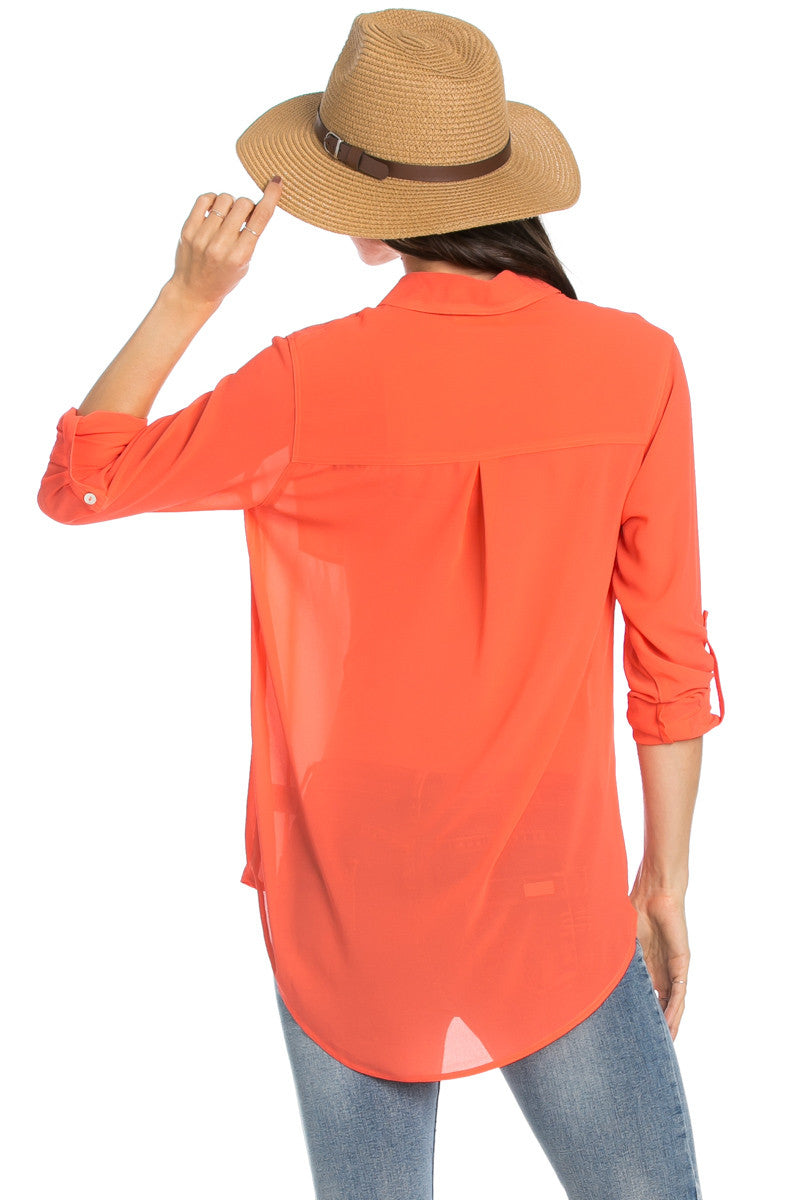 Roll Up Sleeve Button Down Orange Chiffon Blouse - Blouses - My Yuccie - 5