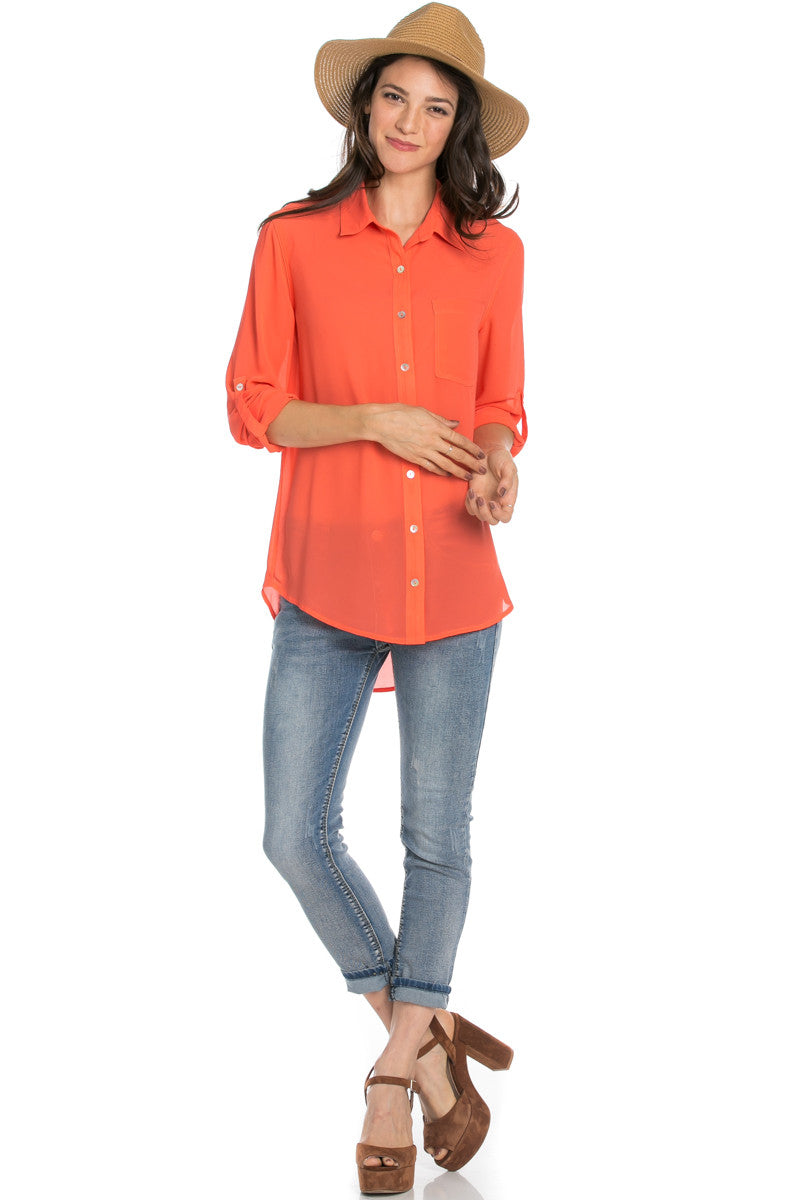 Roll Up Sleeve Button Down Orange Chiffon Blouse - Blouses - My Yuccie - 2