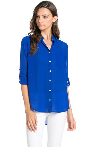 Roll Up Sleeve Button Down Royal Blue Chiffon Blouse - Blouses - My Yuccie - 1
