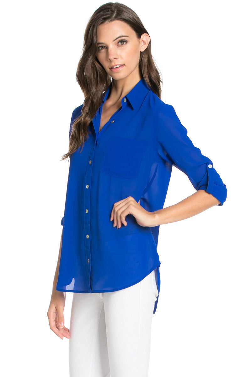 Roll Up Sleeve Button Down Royal Blue Chiffon Blouse - Blouses - My Yuccie - 3