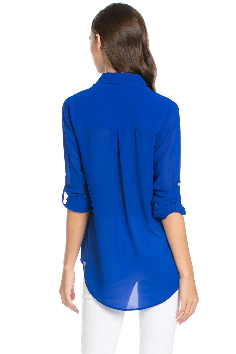 Roll Up Sleeve Button Down Royal Blue Chiffon Blouse - Blouses - My Yuccie - 4