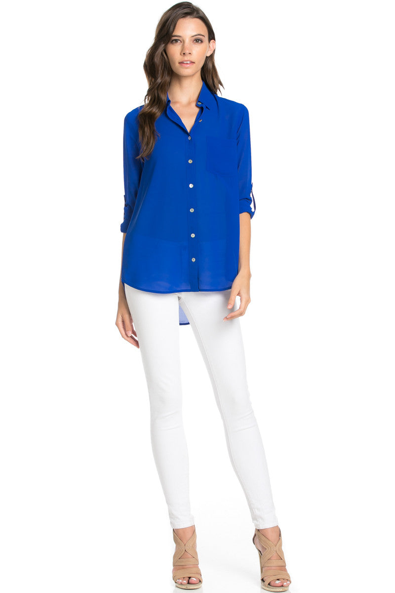 Roll Up Sleeve Button Down Royal Blue Chiffon Blouse - Blouses - My Yuccie - 2