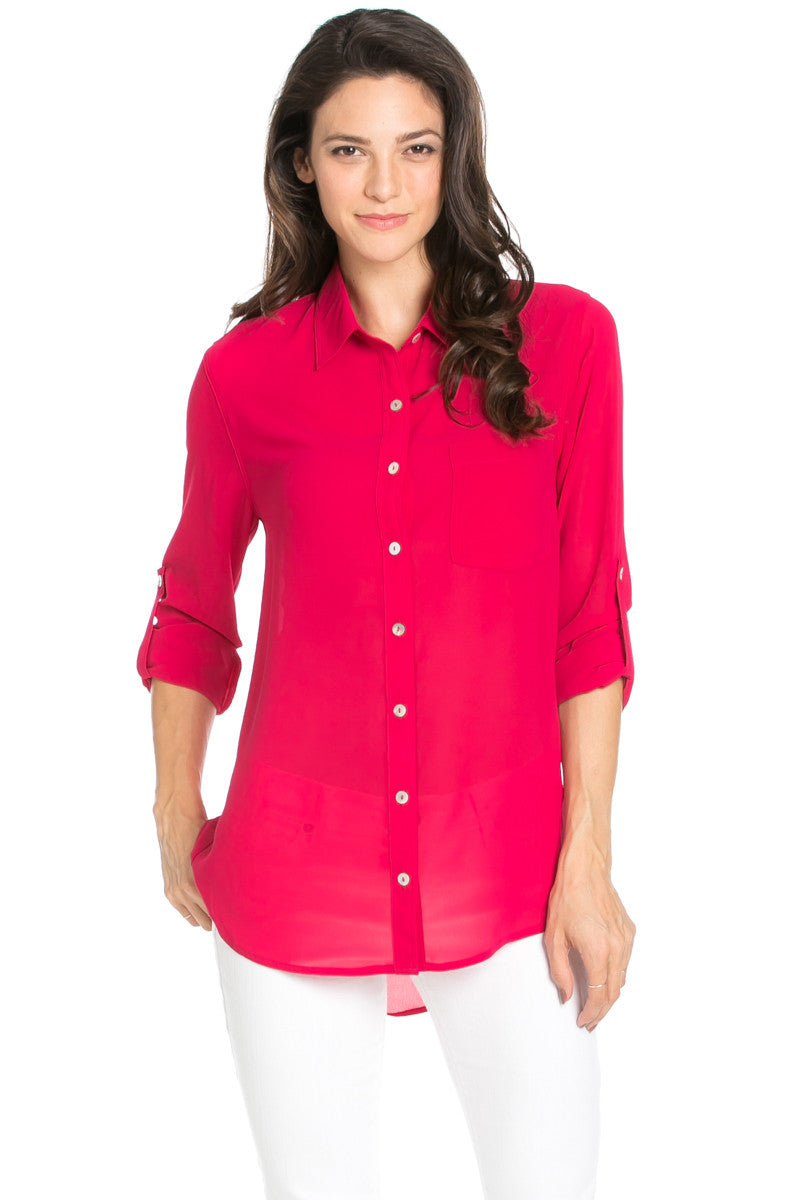 Roll Up Sleeve Button Down Ruby Chiffon Blouse - Blouses - My Yuccie - 3