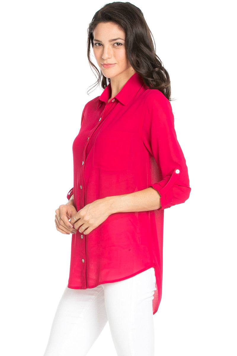Roll Up Sleeve Button Down Ruby Chiffon Blouse - Blouses - My Yuccie - 4