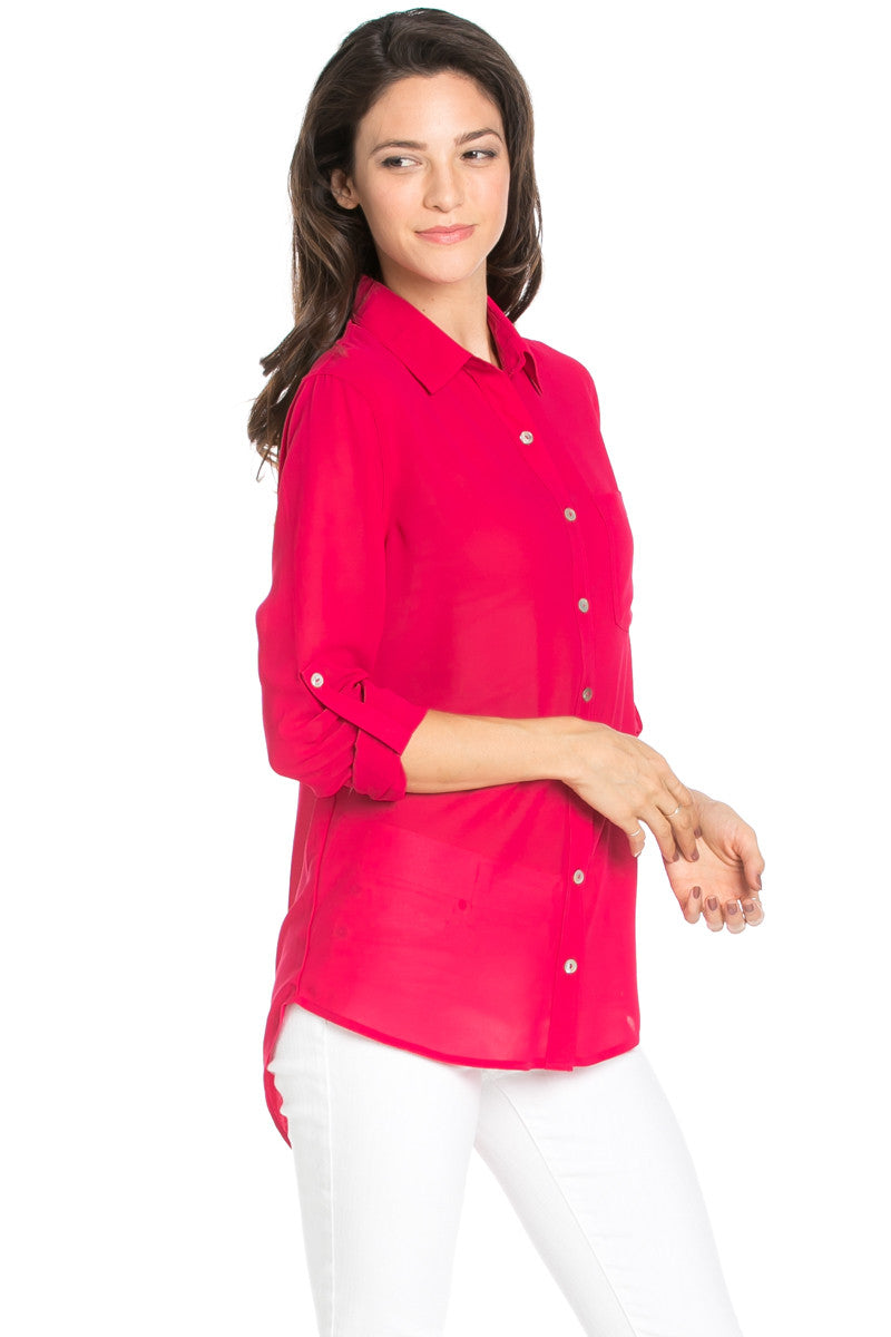 Roll Up Sleeve Button Down Ruby Chiffon Blouse - Blouses - My Yuccie - 1