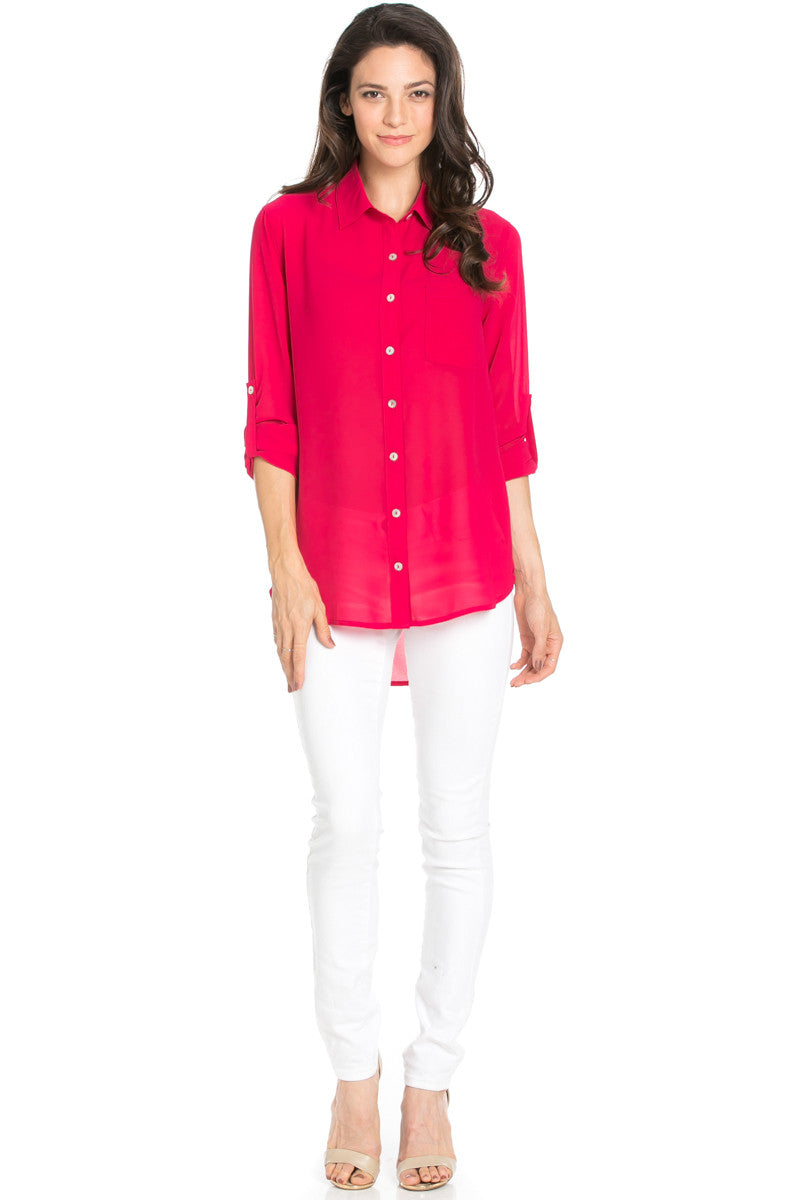 Roll Up Sleeve Button Down Ruby Chiffon Blouse - Blouses - My Yuccie - 2