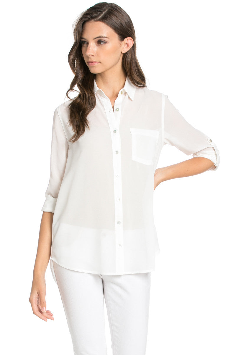 Roll Up Sleeve Button Down White Chiffon Blouse - Blouses - My Yuccie - 1