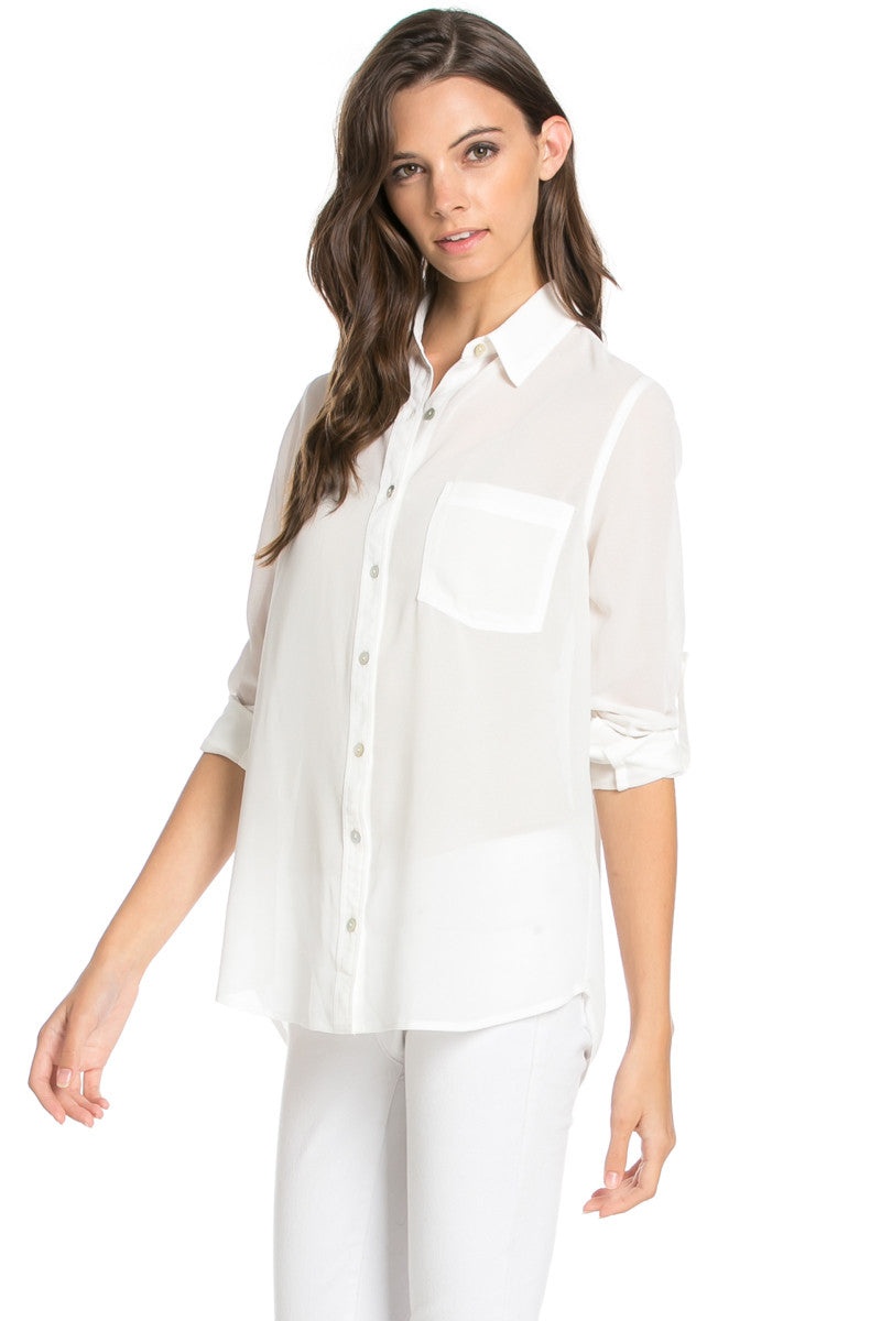 Roll Up Sleeve Button Down White Chiffon Blouse - Blouses - My Yuccie - 3
