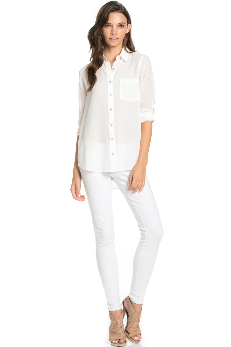 Roll Up Sleeve Button Down White Chiffon Blouse - Blouses - My Yuccie - 2