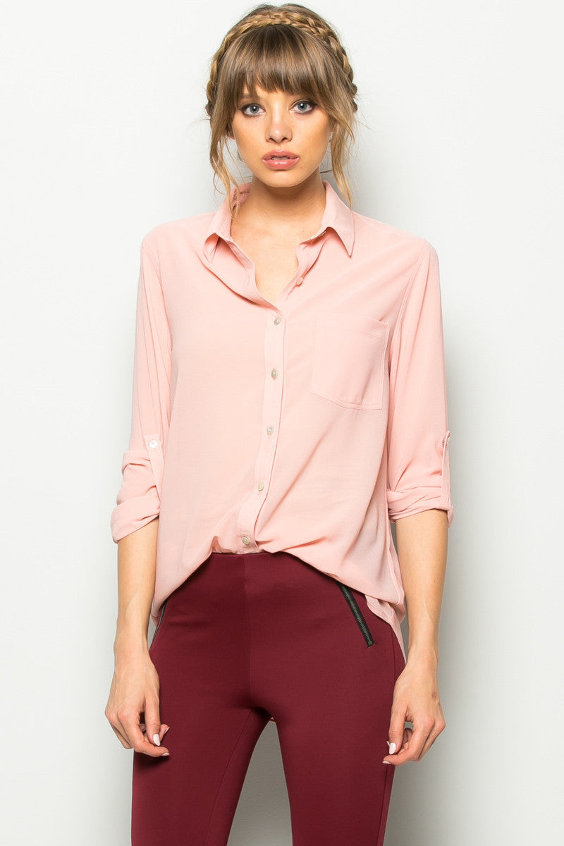 Roll Up Sleeve Button Down Blush Chiffon Blouse - Blouses - My Yuccie - 1