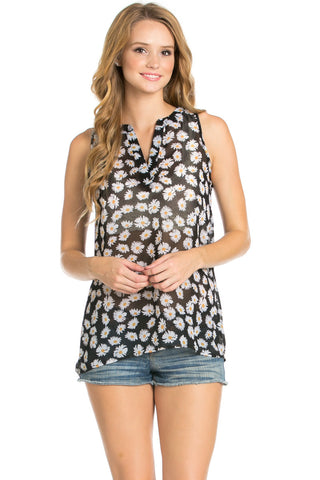 Black Daisy Print Sleeveless Tunic - Blouses - My Yuccie - 1