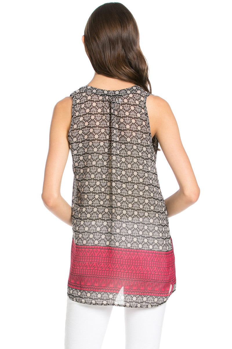 Baroque Pattern Hot Pink Sleeveless Tunic - Blouses - My Yuccie - 3