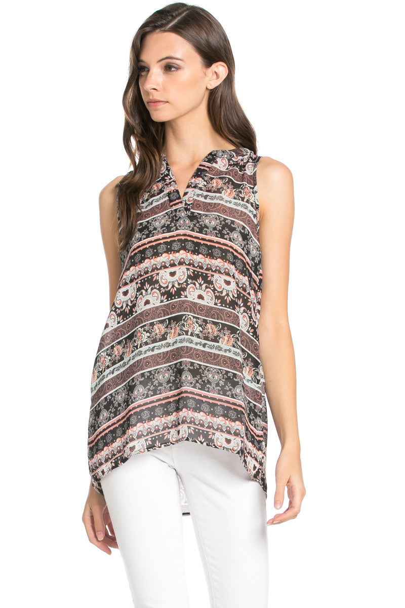 Pink Sleeveless Paisley Print Tunic - Blouses - My Yuccie - 1