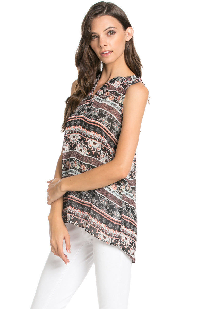 Pink Sleeveless Paisley Print Tunic - Blouses - My Yuccie - 3