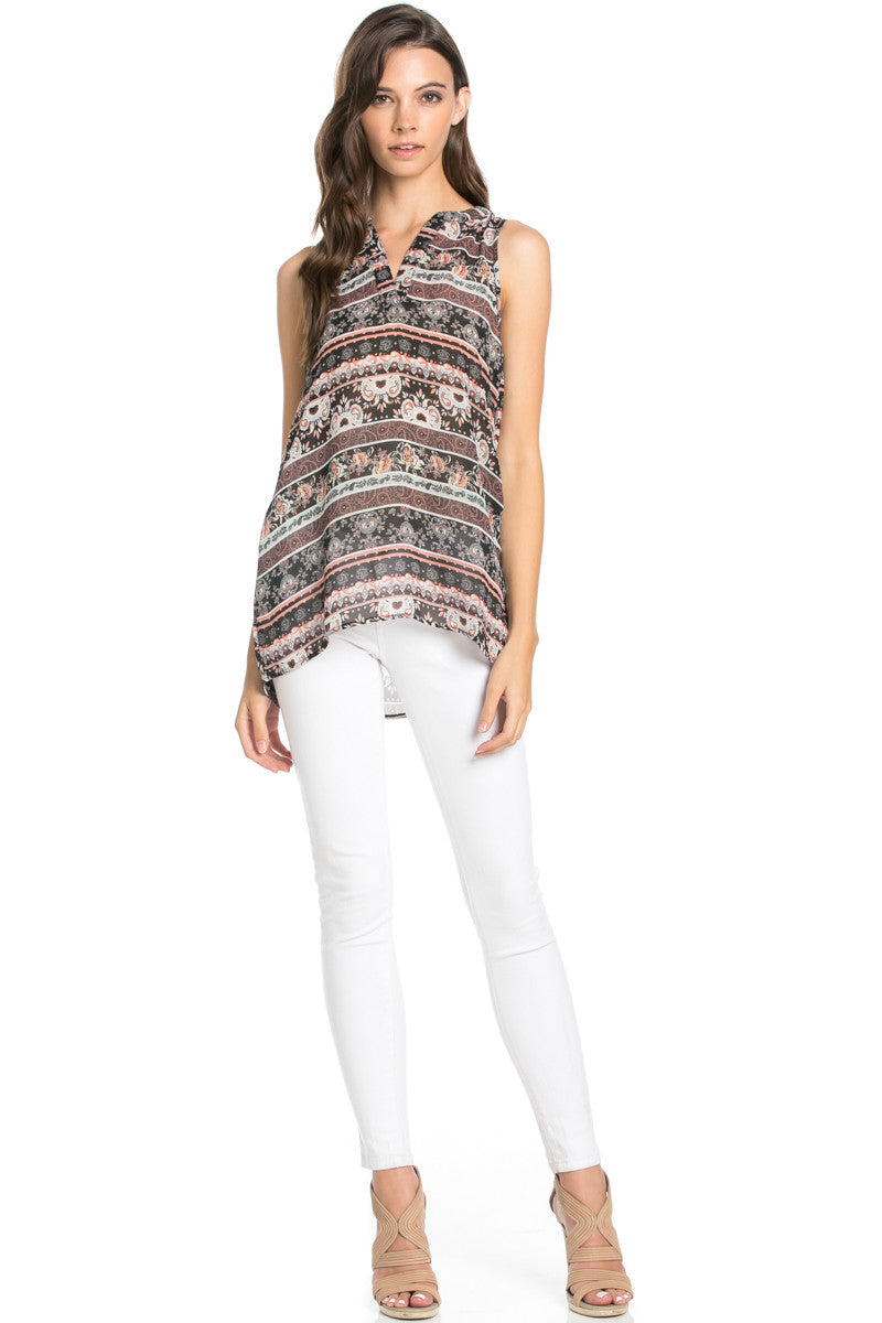 Pink Sleeveless Paisley Print Tunic - Blouses - My Yuccie - 2