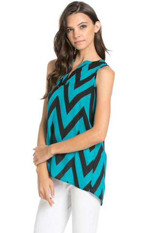 Teal Chevron Print Sleeveless Tunic - Blouses - My Yuccie - 1