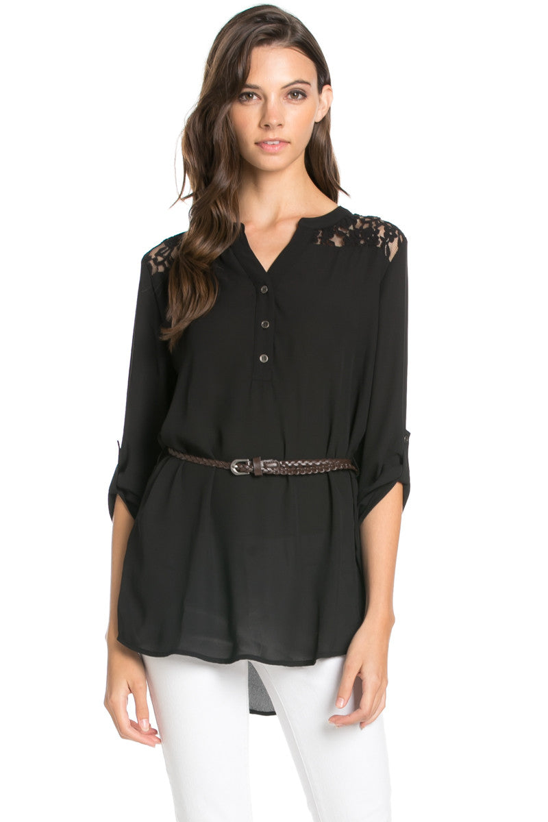 Belted Lace Trim Tunic Top in Black - Tops - My Yuccie - 1