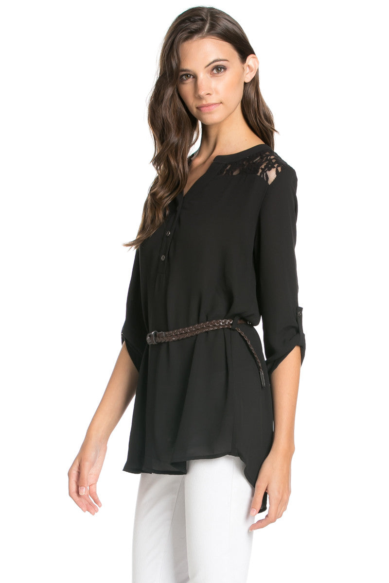Belted Lace Trim Tunic Top in Black - Tops - My Yuccie - 2