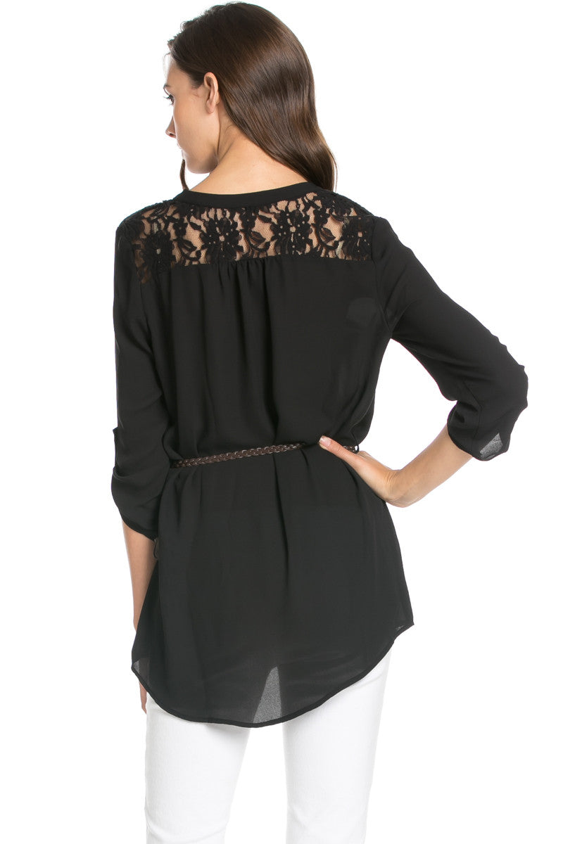 Belted Lace Trim Tunic Top in Black - Tops - My Yuccie - 3