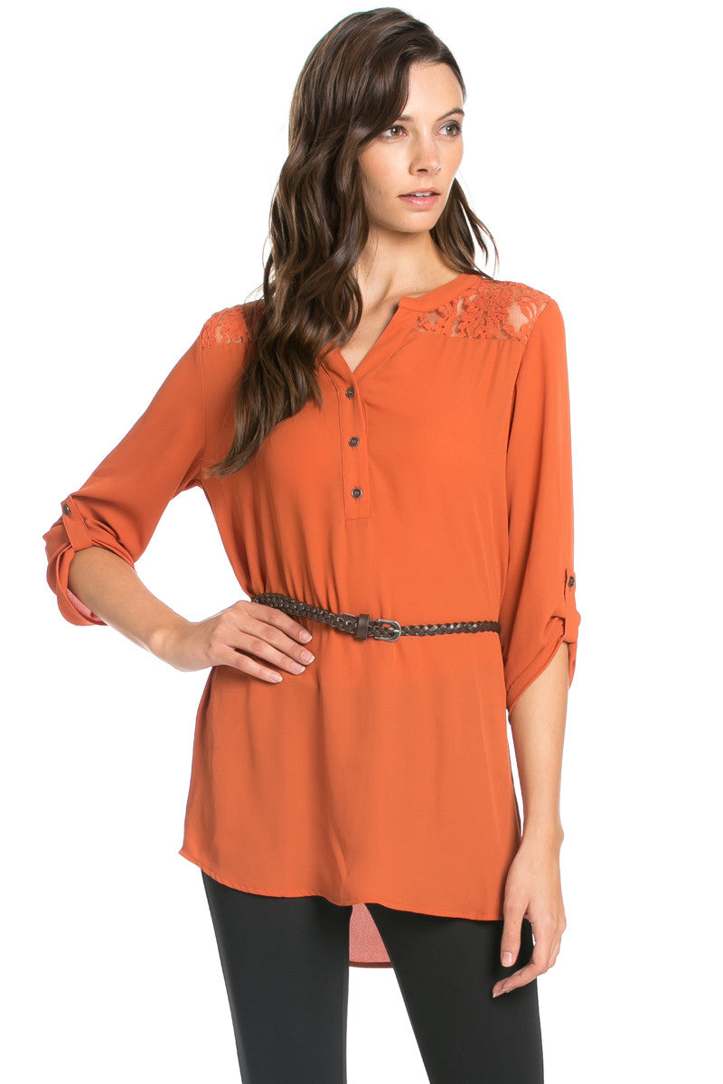Belted Lace Trim Tunic Top in Rust - Tops - My Yuccie - 1