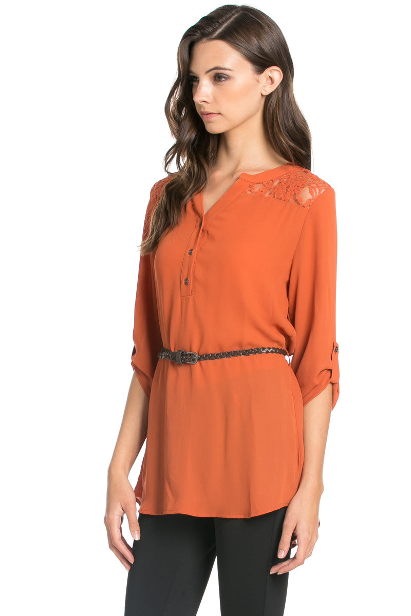 Belted Lace Trim Tunic Top in Rust - Tops - My Yuccie - 2