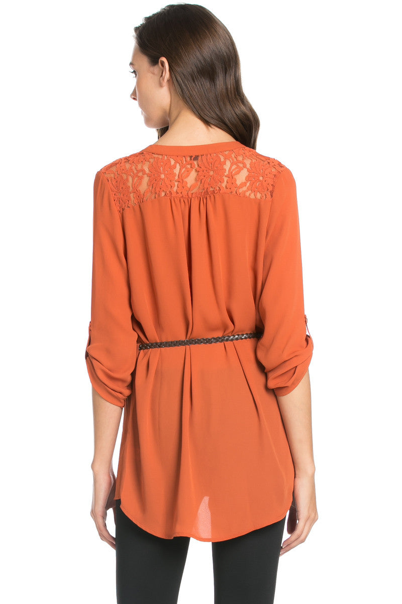 Belted Lace Trim Tunic Top in Rust - Tops - My Yuccie - 3